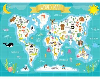 Animal world map etsy nursery printable animal world map kids world map poster digital print kids gumiabroncs Images