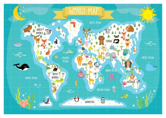 Nursery printable animal world map kids world map poster gumiabroncs Images