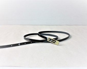 Vintage Black Shiny Polyester Belt with Brass Metal Belt Buckle...a Fashionista Statement Piece can fit for Size M and L