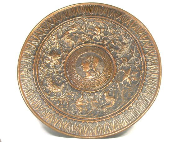 Large Vintage Copper Tray in a Neoclassical Style