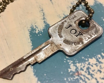 "FREE SHIPPING - Rustic Key with the word ""Joy"" stamped on it"