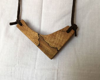 wood pendant walnut statement piece