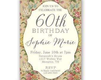Vintage rose 80th birthday invitations womens birthday 60th birthday invitations 70th 80th 90th or any age womens birthday invites birthday stopboris Choice Image