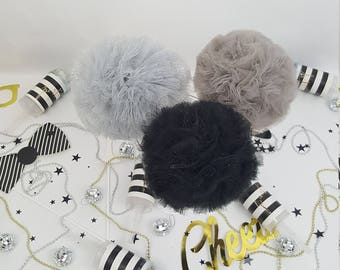 Silver and Black Pom Set, Tulle Pom Pom Set, Party Decorations, Party Decor, Birthday Party Decoration, New Years Decoration, Party Favor