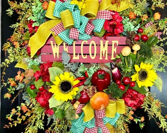 XL Red and Sunflowers vegetable Garden Summer or Fall Mesh Door Wreath