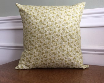 Throw Pillow Cover - Pillow Sham - Decorative Pillow - Feather Print - Designer Cotton Fabric - 14 16 18 inch - White geometric on Green