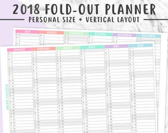 PERSONAL 2018 VERTICAL PLANNER Printable   2018 Fold-Out Yearly Planner, 2018 Year Overview, Pastel, Instant Download