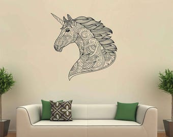 Unicorn Wall Stickers Decals Unicorn head wall decals Mythical Fantasy Wall Art Home kik3165