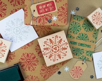 Christmas Motif Snowflake Rubber Stamp - Christmas Rubber Stamper - Candy Cane - Christmas Tree - Christmas Craft - Stocking Stuffer