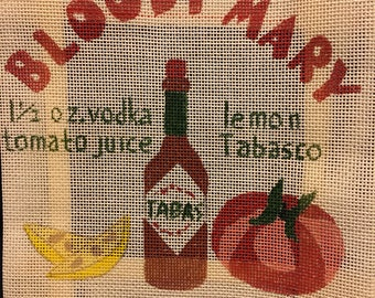 Bloody Mary hand painted needlepoint canvas.