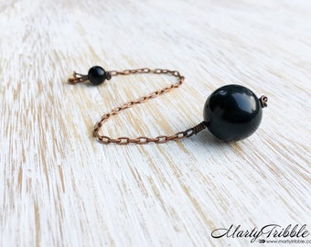 Black Crystal Pendulum, Copper Obsidian Ball Dowsing Pendulum, Metaphysical Healing, Scrying, Divination Stone, Fortune Telling, Wiccan Tool