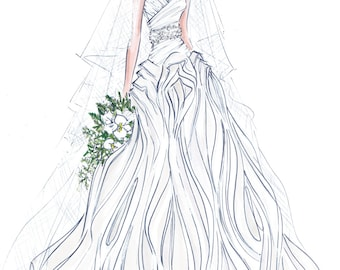 Custom Wedding Gown Illustration FRONTAL