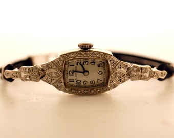 Blancpain Vintage 14kt White Gold Diamond Womens Watch