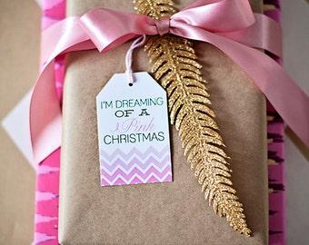Holiday Gift Tags, Chevron, Pink and Gold- Printable