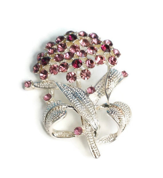 Lavender and Purple Rhinestone Brooch Pin Floral Design Vintage Mothers Day