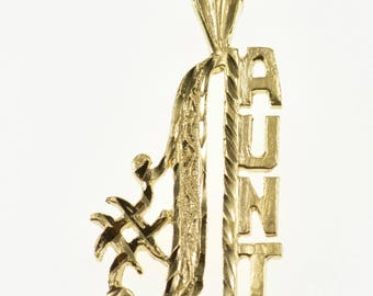 14k #1 Aunt Number One Word Pendant Gold