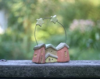 tiny group of houses with 2 stars, OOAK stoneware clay miniature or Christmas ornament