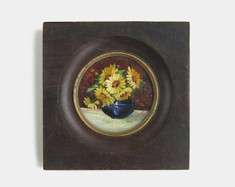 Antique Miniature Sunflowers Still Life Oil Painting on Board - flowers portrait old framed impressionist garden signed victorian vintage