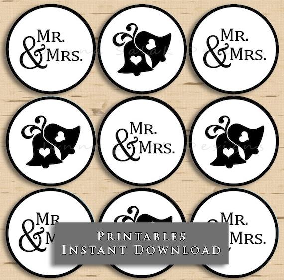 Printable mr mrs cupcake toppers wedding bells black and printable mr mrs cupcake toppers wedding bells black and white diy instant download junglespirit Images