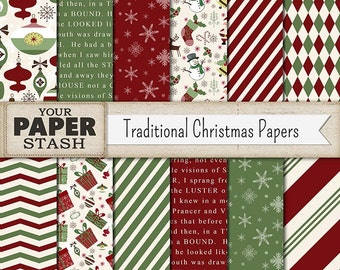 Traditional Christmas Digital Paper Pack, Retro, Holiday, Christmas, Scrapbook Paper, Ornaments, Snowman, Santa, Red, Green, Commercial Use