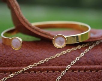 Rose Quartz gemstones, fine gold Bangle Bracelet