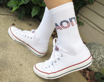 Red, White, and Blue Sorority Americana USA Greek Letters Socks, White Crew Socks Sold by the Pair