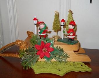 Handmade Christmas Centerpiece Carolers Christmas Diarama Wooden Sled Wood Ornaments