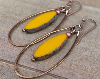 Boho Earrings - Bohemian Jewelry - Boho Dangle Earrings - Festival Jewelry - Copper Jewelry - Copper Hoop Earrings - Earthy Jewelry