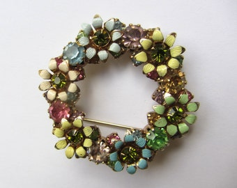 Weiss Multicolored Rhinestone And Metal Brooch With Enameled Flowers