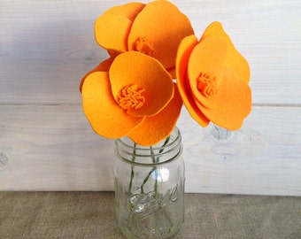 Handmade Felt Flower Stems - California Poppy (Bunch of 3 stems!)