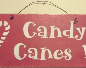 Rustic Candy Canes Christmas Holiday Winter Wood and Wire Primitive Wall Hanging Sign