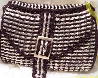 Purse, recycled pop tabs purse fun unique Black, buckle purse with side pocket