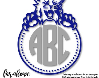 Wildcats Cougars Panthers Lions Bluecats Monogram Frame (monogram NOT included) SVG, DXF, png, jpg digital cut file for Silhouette or Cricut
