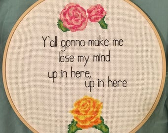 MADE TO ORDER: Up in Here Completed Cross Stitch