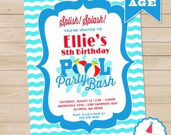 Pool Party Invitation | Pool Birthday Invitation Printable | Summer Birthday Invitation | Swimming Party Invitation | Amanda's Parties