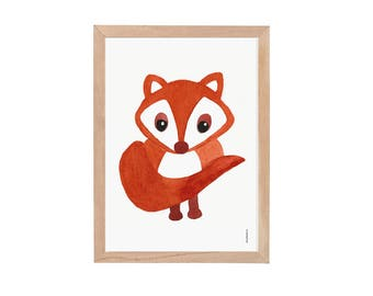 fox watercolor print, Baby fox wall art, fox wall art print, poster woodland fox, woodland fox poster, nursery poster, woodland creatures