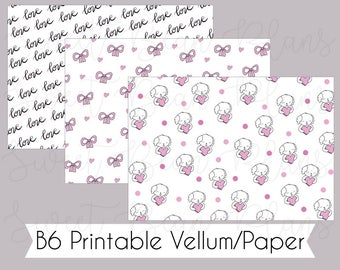 B6 Valentine's Day Bean -  Printable Vellum/Paper for Traveler's Notebook Inserts and Dashboards