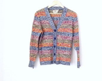 Vintage multicolor sweater. 80's cardigan, long sleeve. Size small