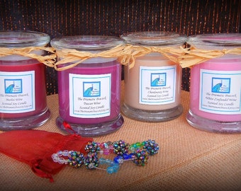 Set of Four Wine Scented Soy Candles with Six Beaded Wine Glass Charms