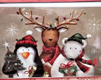 Folk Art Christmas Holiday Greeting Cards, Reindeer, Polar Bear, Penguin, Snowflakes, Box of 16