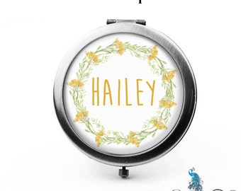 Compact Mirror Yellow Wildflowers Floral Wreath The Hailey Bridesmaid Gifts Cosmetic Mirror Personalized Gifts Mom Birthdays Ladies Women