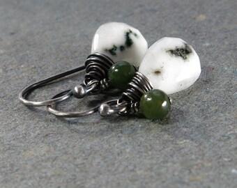 Solar Quartz Earrings Green Jade Oxidized Sterling Silver Earrings