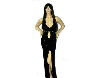 Exotic Dancewear  floor length rhinestone dress and Matching Thong