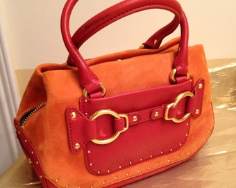MINI TOTE Cole Haan 90's Orange Suede Mini Bag, Small Top Handle Bag, Suede Bag with Gold Hardware-Free Ship