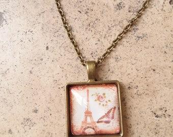 Antique vintage Paris  pendant with chain