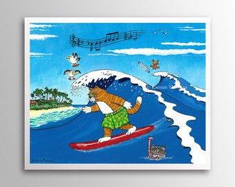 Surfing Cats – The Perfect Wave | Art Print | Whimsical Cats Surfing the Waves