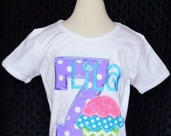 Personalized Birthday Cupcake Applique Shirt or Bodysuit Girl or Boy
