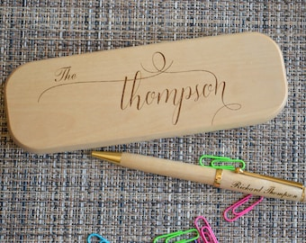 Personalized Engraved Pen Set, Wooden pen Set, Graduation Gift, Custom Pen Set, Birthday Gift, Maple Pen, Fathers day gift. pen case PB1