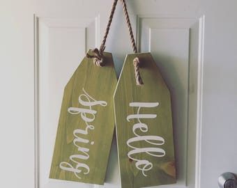 Spring Door Tags   Spring Decorations   Large Spring Door Tag   Hello Spring  Sign
