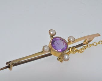 9ct yellow gold period amethyst & seed pearl period bar brooch with safety chain